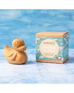 Freckles the gold caramelised white chocolate Chococo duck with dark chocolate speckles. Handmade in Dorset in Plastic-free packaging