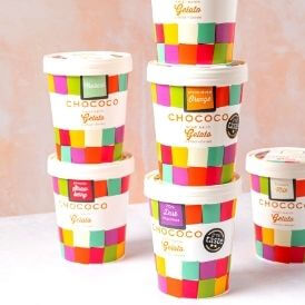 Chococo's new look compostable Gelato Tubs