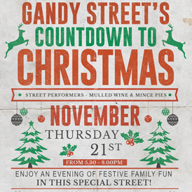 It's the annual Gandy St Christmas Countdown this Thursday 21st - Not to be missed Exeter folk!