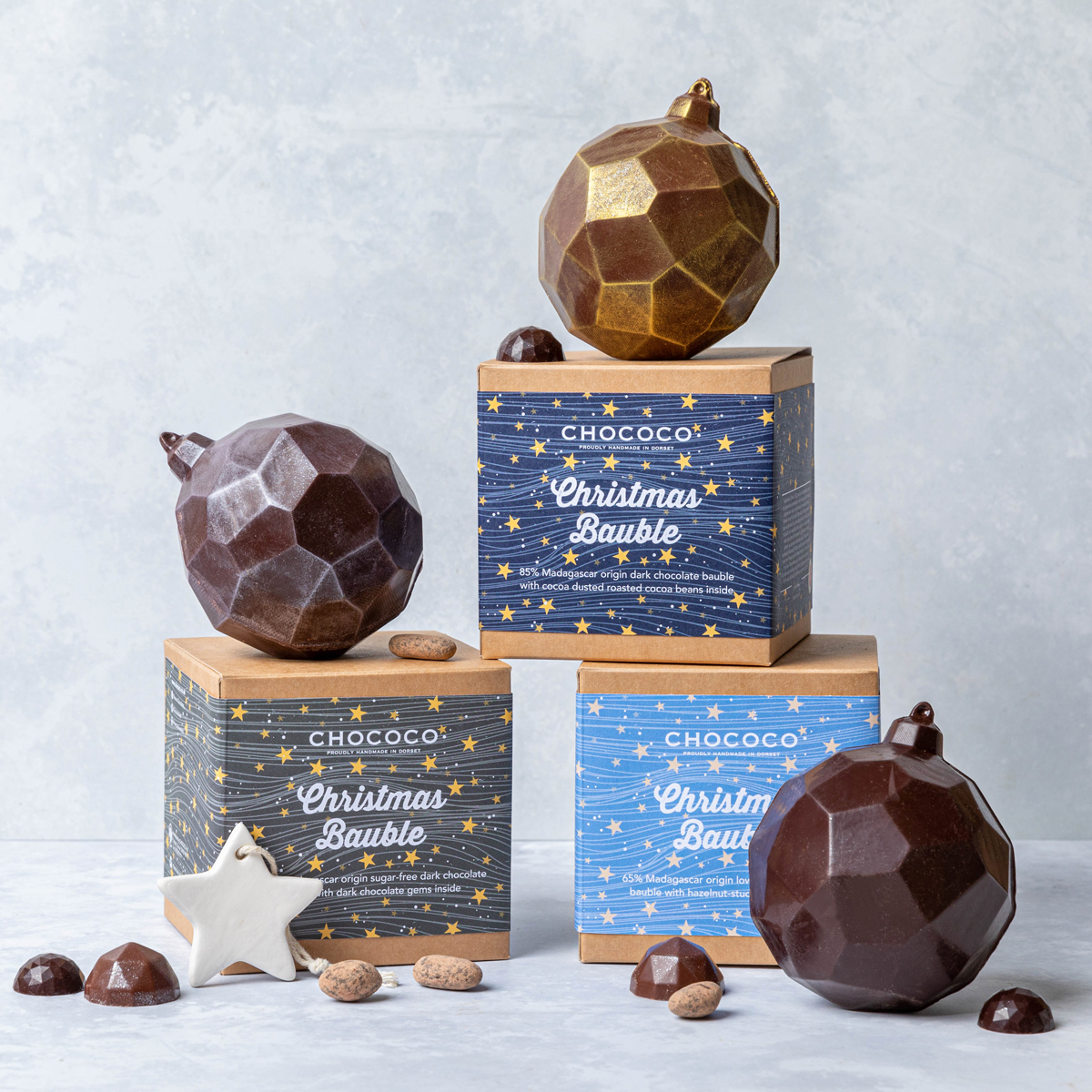 Have you discovered our collection of Low Sugar or No Sugar Raisetrade Chocolate Baubles?