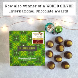 Our Gingerbread Caramel chocolate is a WORLD Silver International Awards winner