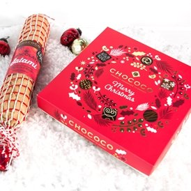 large Christmas box & salami handmade by Chococo